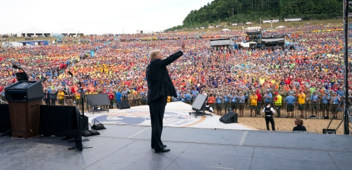 President Donald Trump addresses the Boy Scouts of America's 2017 National Scout Jamboree at the Summit Bechtel National Scout Reserve in Glen Jean, W.Va., July 24, 2017. (Doug Mills/The New York Times)