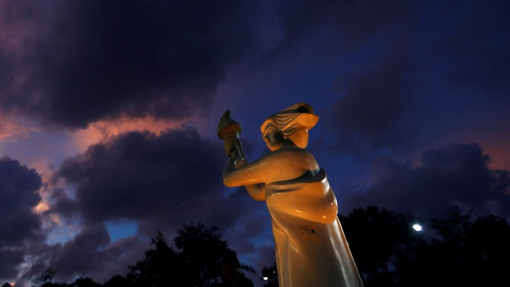 A statue of the Goddess of Democracy is seen before the start of candlelight vigil to mark the 28th anniversary of the crackdown of pro-democracy movement at Beijing's Tiananmen Square in 1989, at Victoria Park in Hong Kong