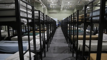 "Dormitory beds for migrant children at the Homestead ""temporary influx facility"" outside of Miami."